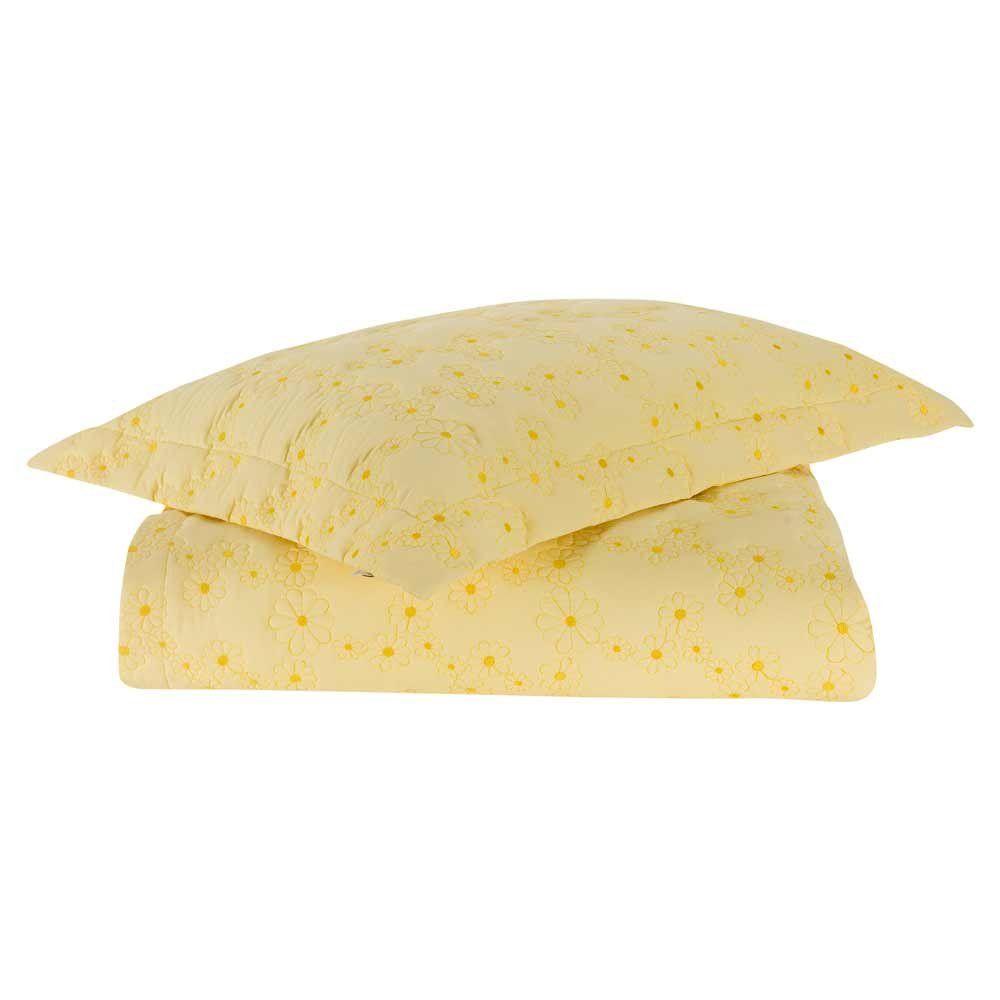 Coordenado Casal Padrão Nuance 07 Peças 100% Algodão Percal 200 Fios Bordado - Amarelo