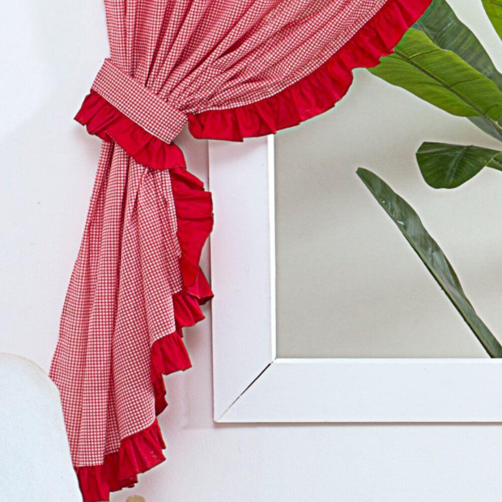 Cortina Infantil Candy  2,00m x 1,60m alt. Tecido 100% Algodão - Vermelho