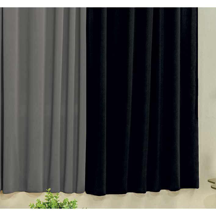 Cortina Petekinha 2m x 1,70m Tecido Malha Gel - Preto/Cinza