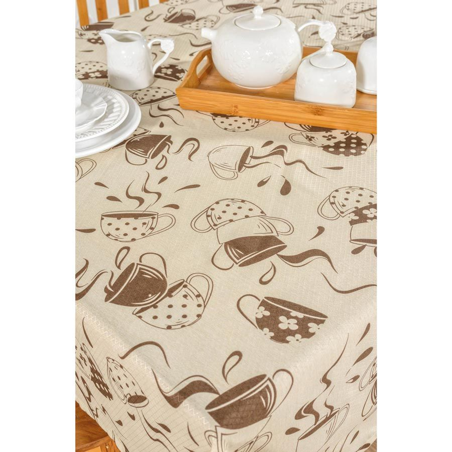 Toalha de Mesa retangular Estampada Café 2,00m x 1,40m Tecido Misto - Bege
