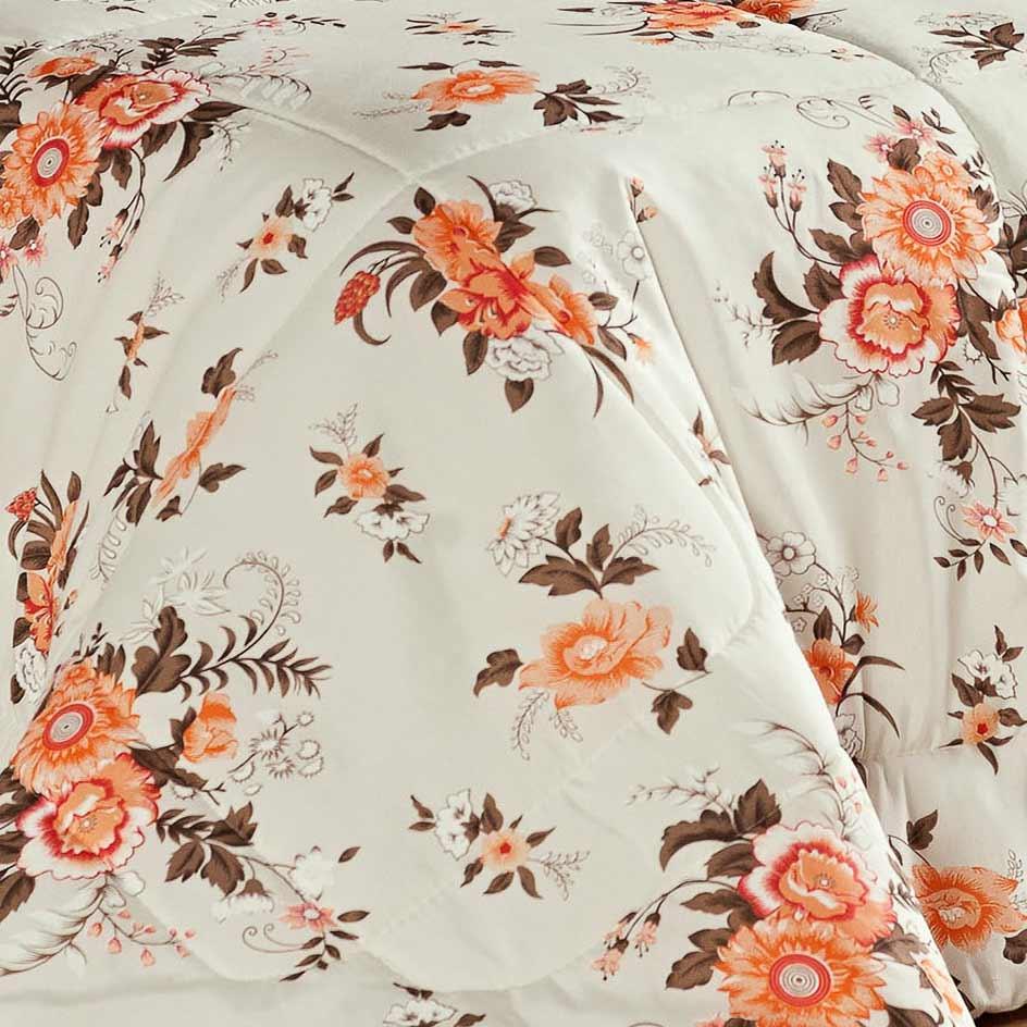 Edredom Solteiro Julia 03 Peças Estampado - Floral Laranja