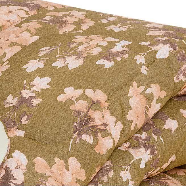 Edredom Solteiro Avulso Soft e Malha Fio 30/01 Estampado - Floral Caqui