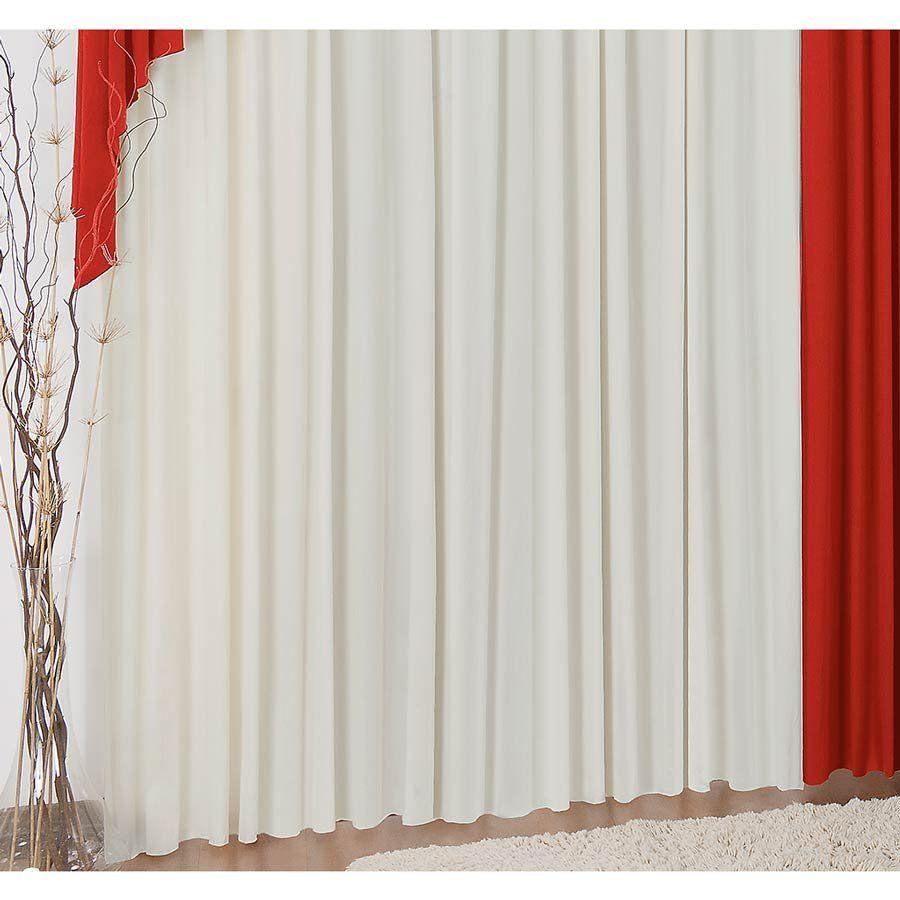 Cortina para Varão Elegance 3 Metros x 2,80 Metros Alt Tecido Malha - Vermelho/Palha