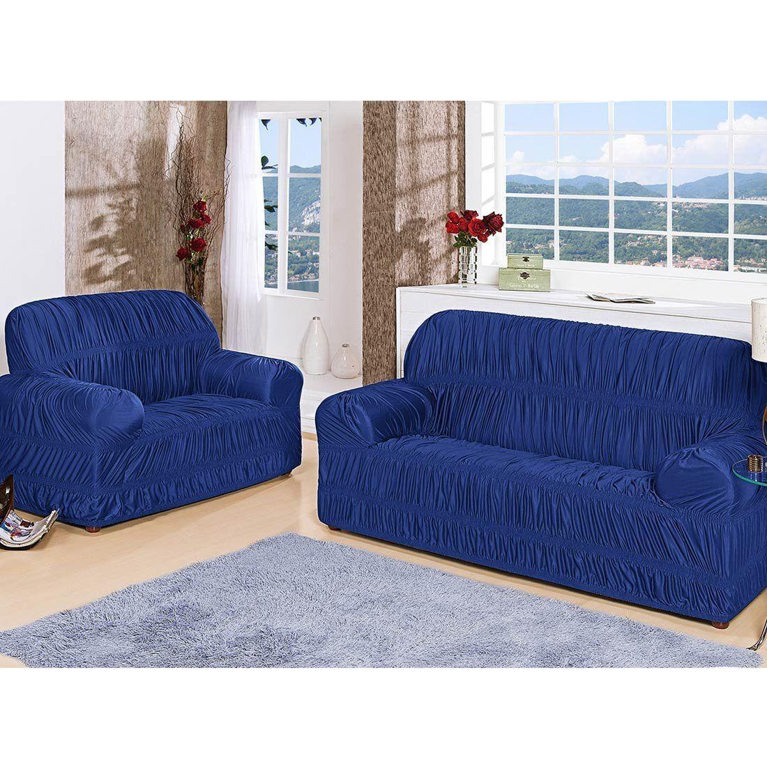 Capa de Sofá Flor de Liz Para 2 e 3 Lugares 25 Elásticos Tecido Malha - Azul Royal