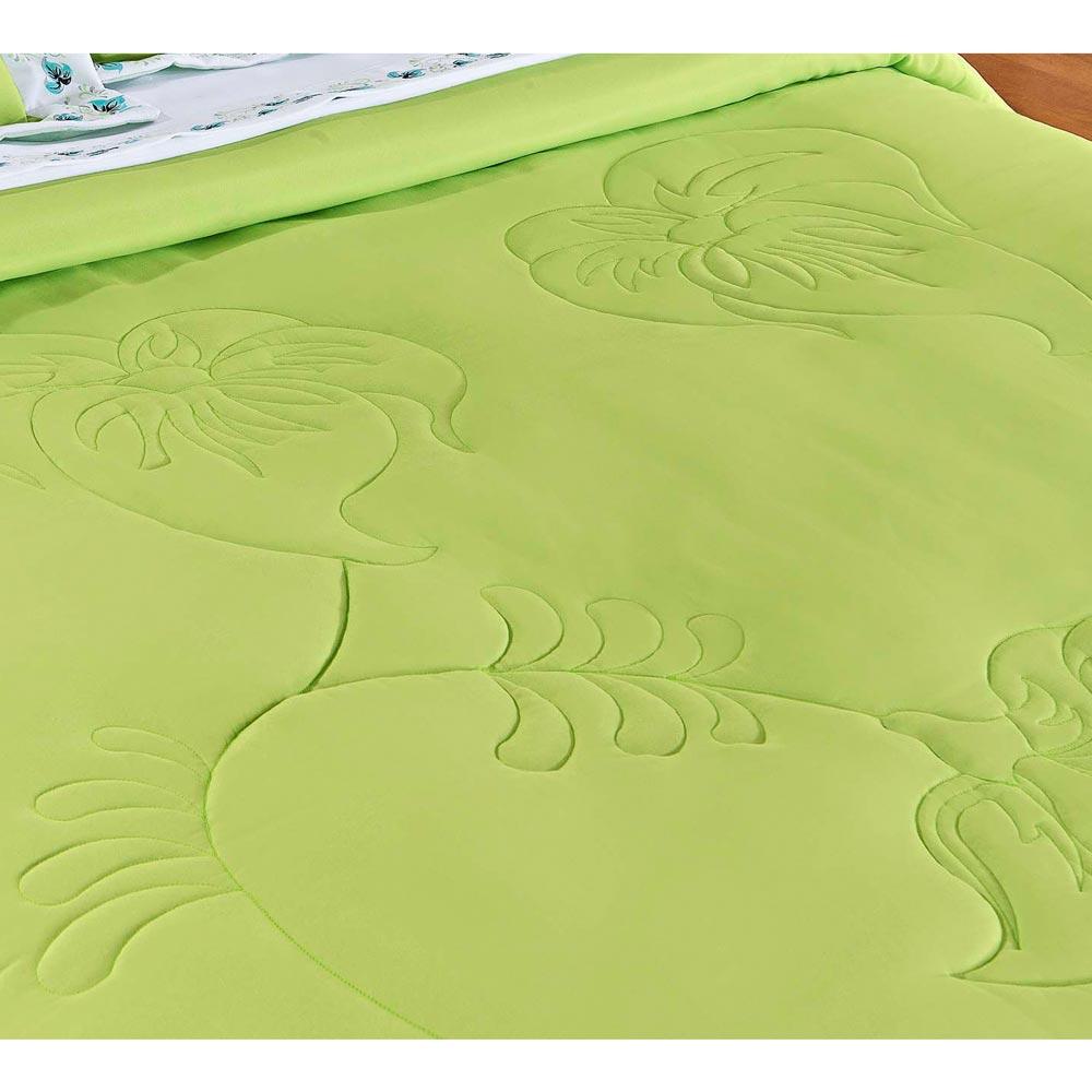 Colcha Casal Queen Fiore 05 Peças com 2 Almofadas - Verde