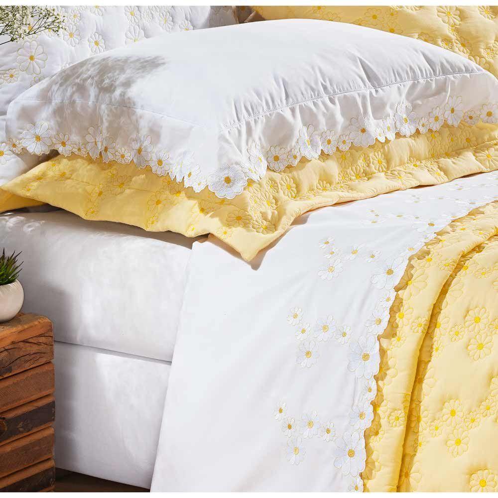 1f81c67be8 Jogo de Cama Casal Queen Nuance 04 Peças Bordado 100% Algodão Percal 200  Fios - Branco Amarelo