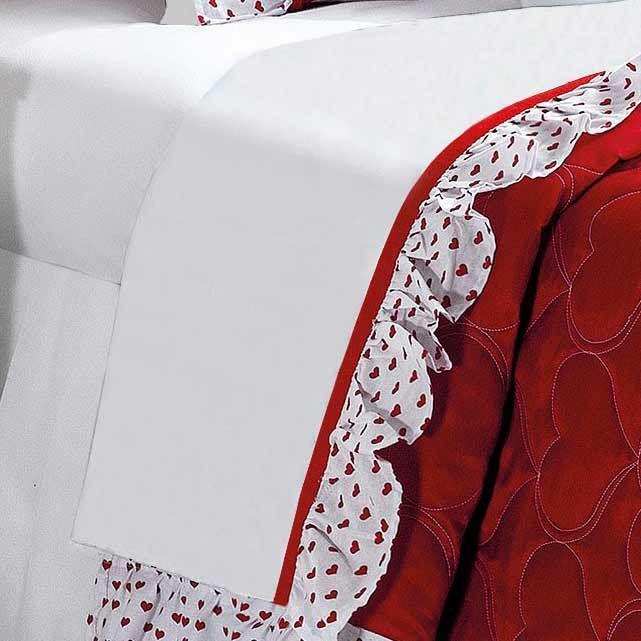 Jogo de Cama Solteiro Amore 03 Peças Estampado Coração - Branco/Vermelho