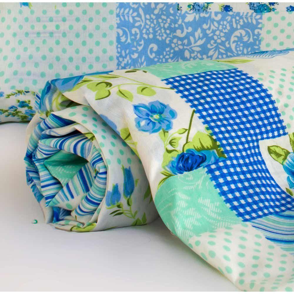 Jogo de Lençol Casal Padrão Marina 03 Peças Tecido Misto - Patchwork Azul