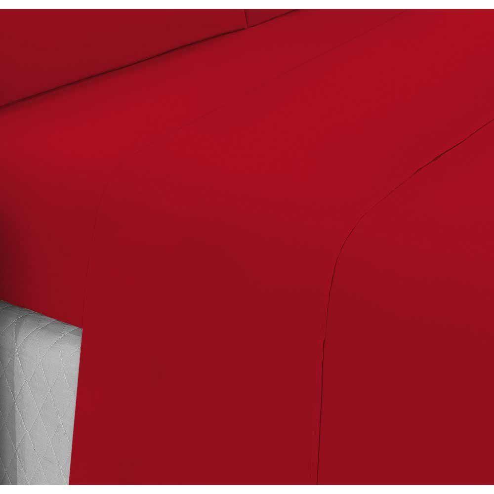 6c4a758661 Jogo de Lençol Casal Queen Liso Pati 04 Peças Tecido Microfibra - Vermelho