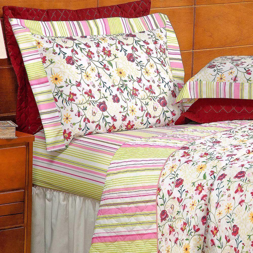 Jogo de Lençol Queen Marrocos 100% Algodão 150 Fios - Floral Vermelho