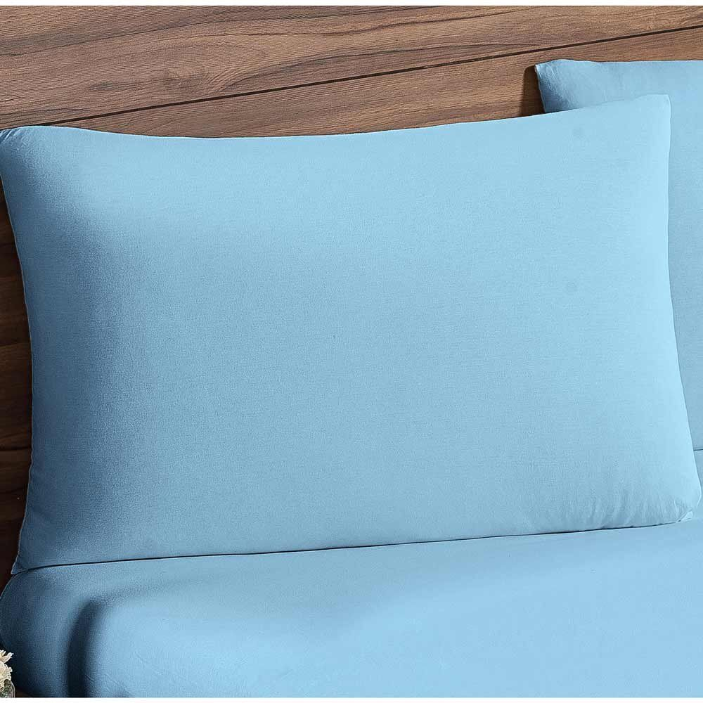 Jogo de Lençol Casal Queen Soft 03 Peças Tecido Malha Penteada 30/1 - Azul