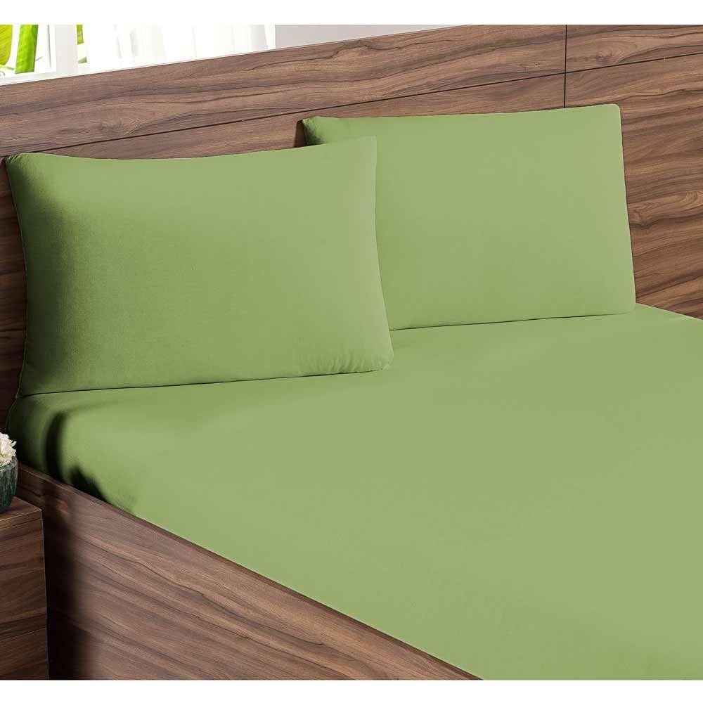 Jogo de Lençol Casal Padrão Soft 03 Peças Liso Tecido Malha Penteada 30/1 - Verde