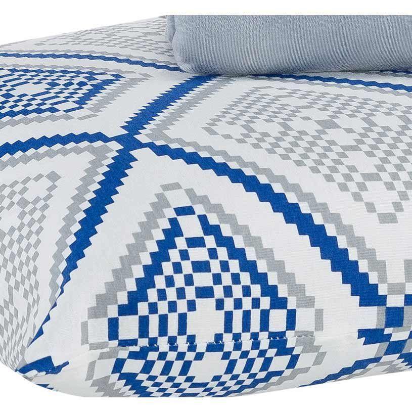 Jogo de Lençol Casal Queen Soft 03 Peças EstampadoTecido Malha Penteada 30/1 - Azul/Cinza