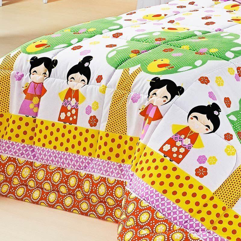 Edredom Solteiro Kokeshi Japonês 02 Peças 100% Algodão com Porta Travesseiro