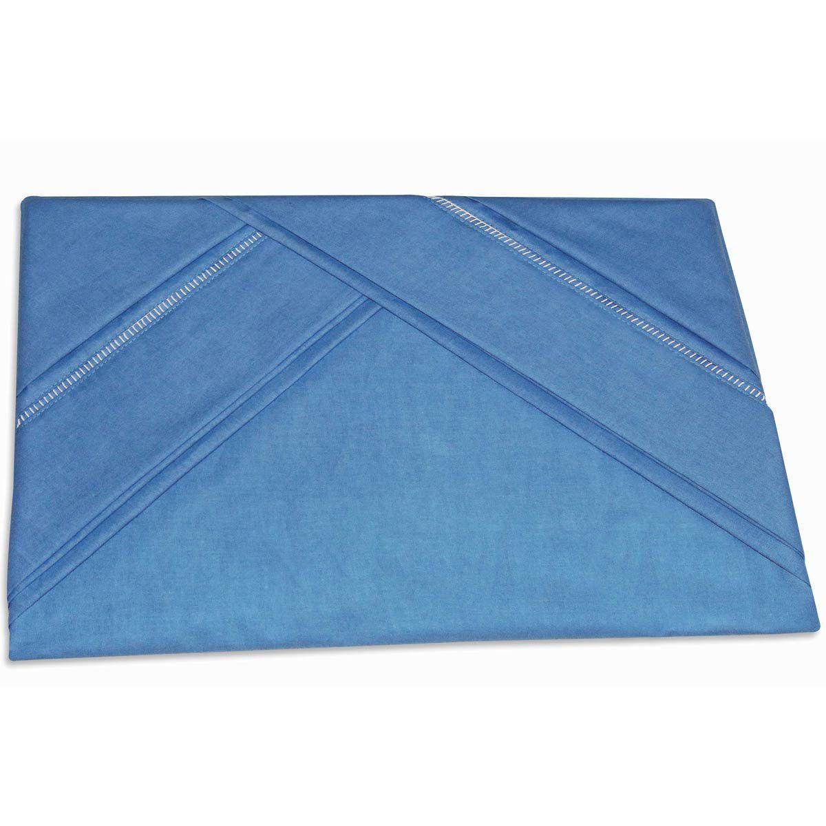 Lençol de Cama com Elástico Casal 03 Peças com 02 Fronhas 100% Algodão Liso - Azul