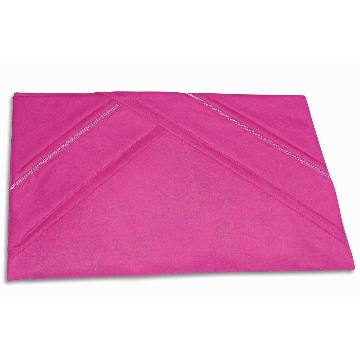Lençol de Cama com Elástico Casal Queen 03 Peças com 02 Fronhas 100% Algodão Liso - Pink