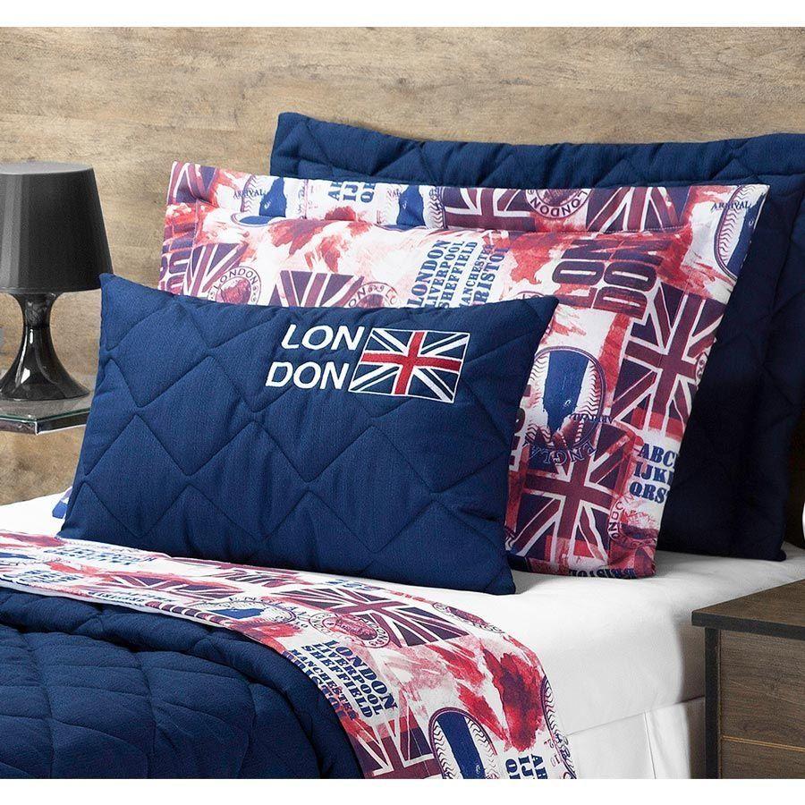 Cobre Leito Solteiro London 03 Peças Tecido Capri - Azul Marinho