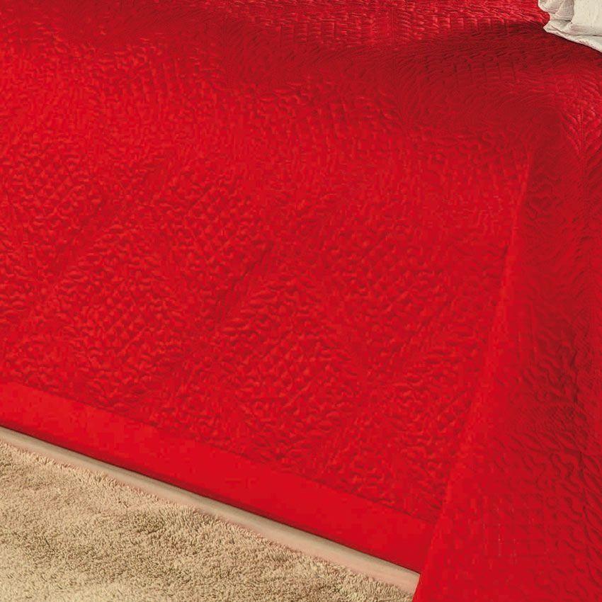 Cobre Leito Casal Queen Maina 03 Peças Bordado em Microfibra Liso - Vermelho