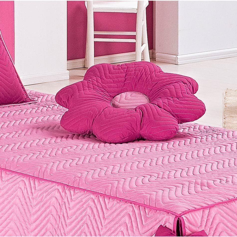 Colcha Solteiro Padrão Mariana 03 Peças Tecido Microfibra com Almofada - Pink