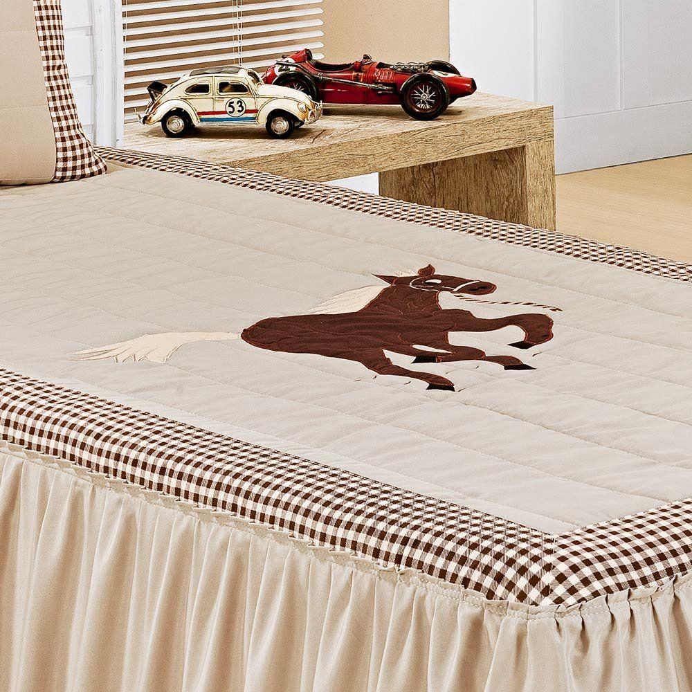 Colcha Solteiro Milano 02 Peças com Porta Travesseiro tema Cavalo - Caqui