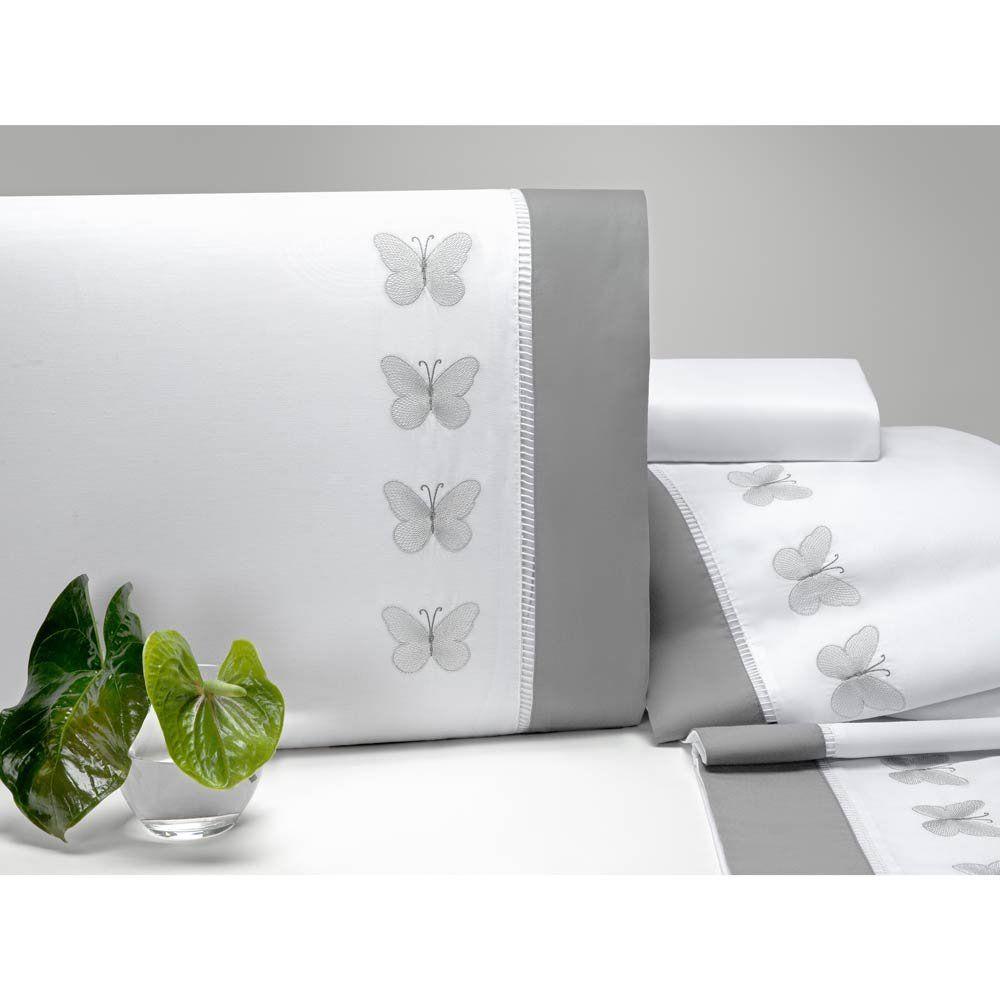 Jogo de Lençol Casal Queen Papilons Bordado 4 Peças Percal 200 Fios - Branco/Cinza