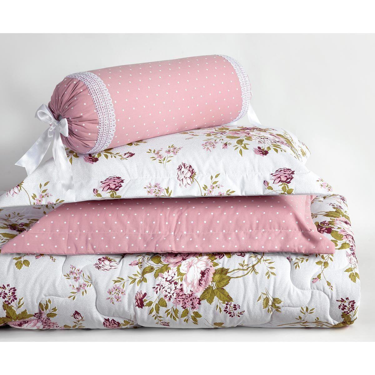 Kit Edredom Casal Queen Passione 6 Peças Estampado Percal 200 Fios com 4 Porta Travesseiros - Rosê