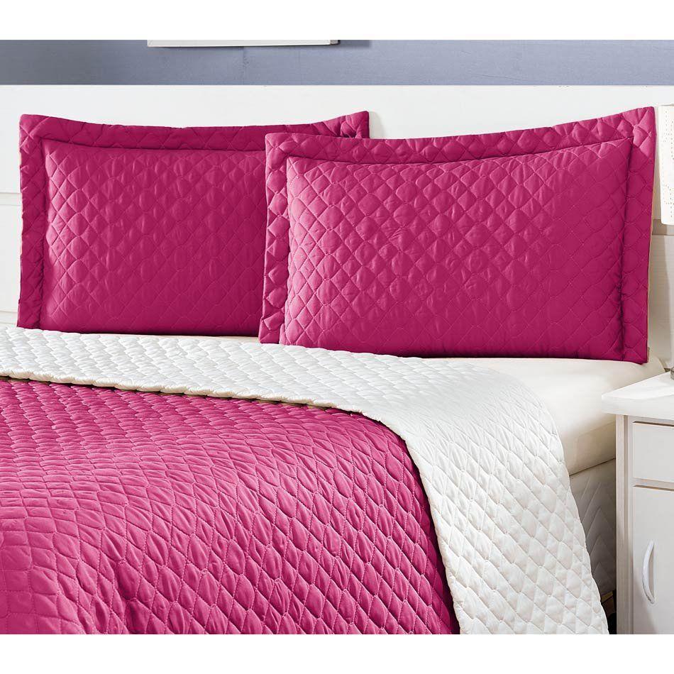 Cobre Leito Casal Padrão Pati 03 Peças Liso Tecido Microfibra Matelado - Pink/Palha