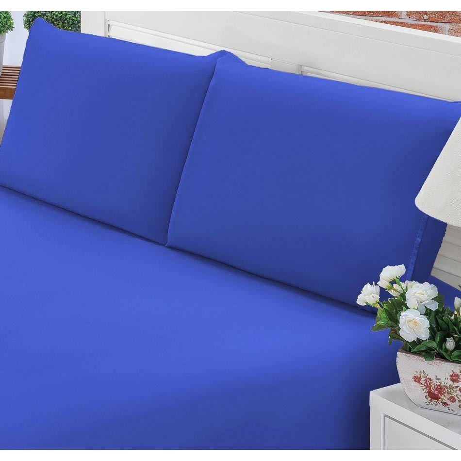 7eb03b6737 Jogo de Lençol Casal Queen Liso Pati 03 Peças Tecido Microfibra - Azul Royal  ...
