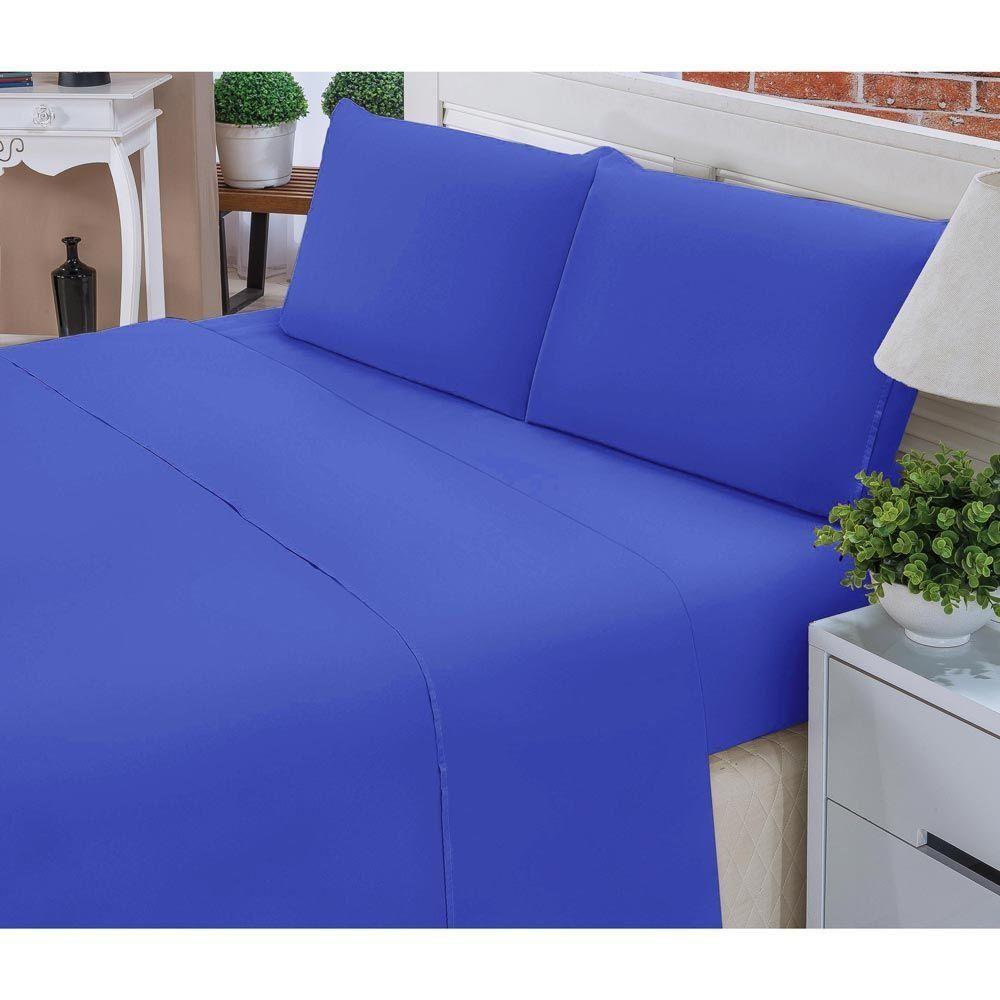 5fa8b16bef ... Jogo de Lençol Casal Queen Liso Pati 04 Peças Tecido Microfibra - Azul  Royal ...