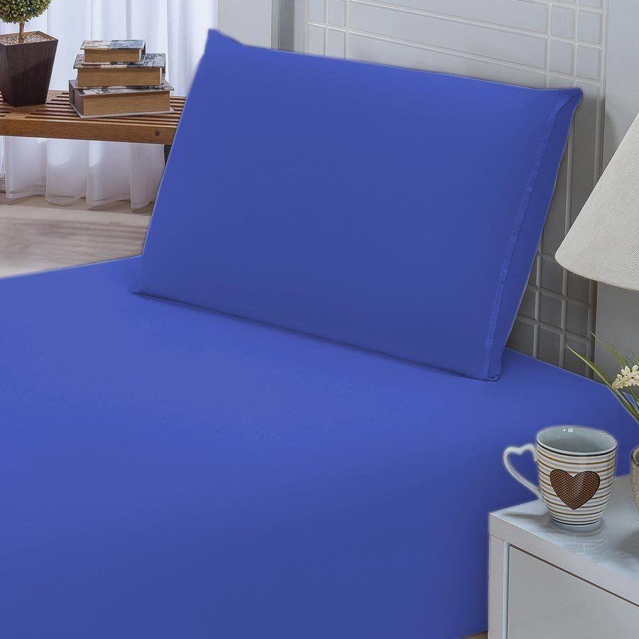 Jogo de Lençol Solteiro Padrão Liso Pati 02 Peças Tecido Microfibra - Azul Royal