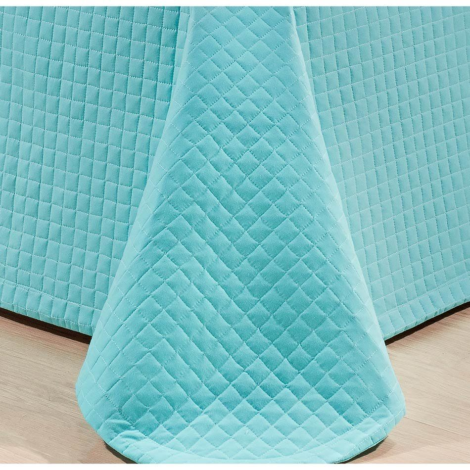 Cobre Leito Casal King Pratik 03 Peças Liso 100% Algodão 200 Fios - Azul Oceano