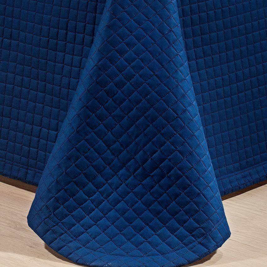 Cobre Leito Casal King Pratik 03 Peças Liso 100% Algodão 200 Fios - Azul Marinho
