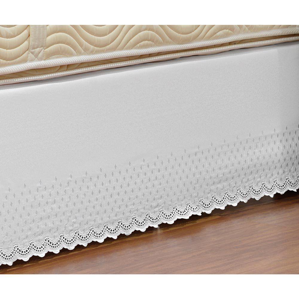 Saia Box para Cama de Casal Padrão Probox de Laise Tecido Misto - Branco