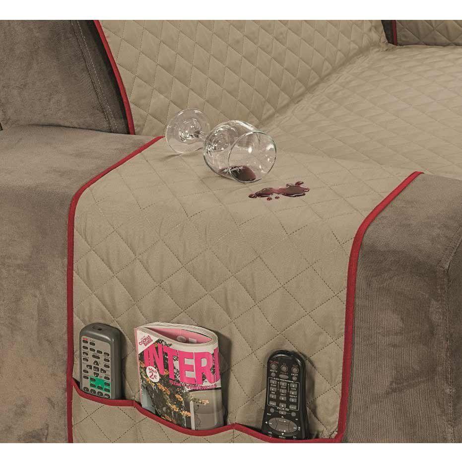 10a575c89 Protetor de Sofá Impermeável King Kit para 2 e 3 Lugares Dupla Face Tecido  Microfibra - Caqui/Vermelho