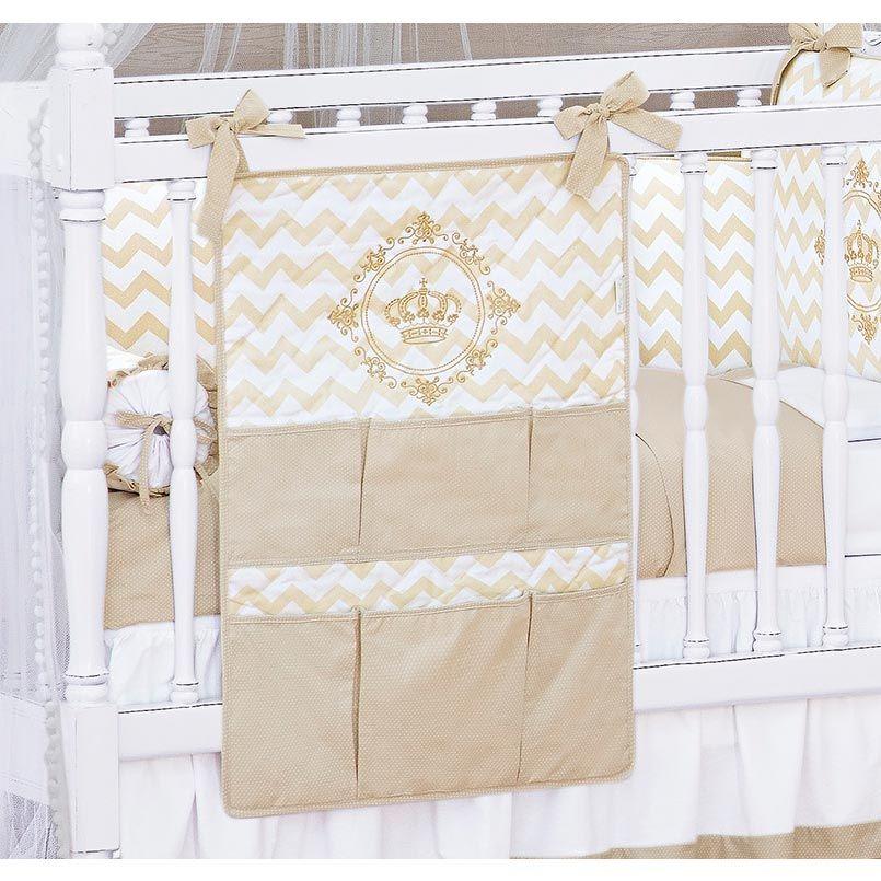 Porta Objetos para Berço de Bebê Coleção Royalty Caqui