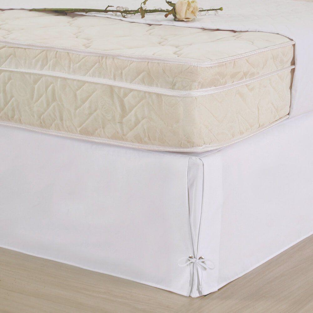 Saia Box para Cama Casal Microfibra c/ Ilhós - Branco