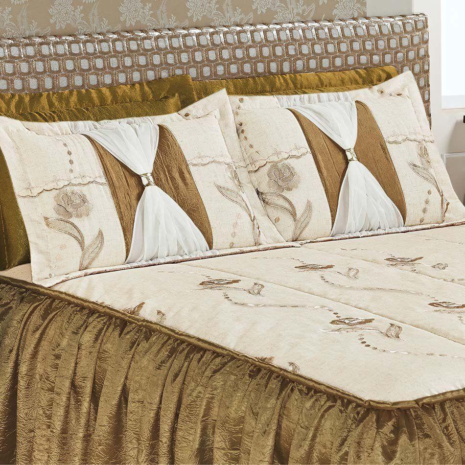 Colcha Casal Super King Serena 03 Peças Tecido Rustico e Seda com Porta Travesseiro com Detalhe Voil e Metal - Ouro Velh