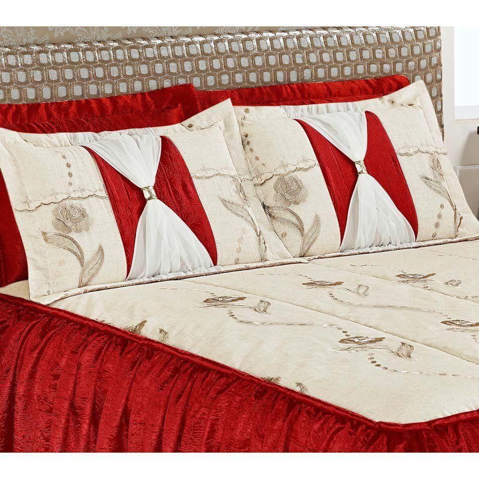 Colcha Casal Super King Serena 03 Peças Tecido Rustico e Seda com Porta Travesseiro com Detalhe Voil e Metal - Vermelho