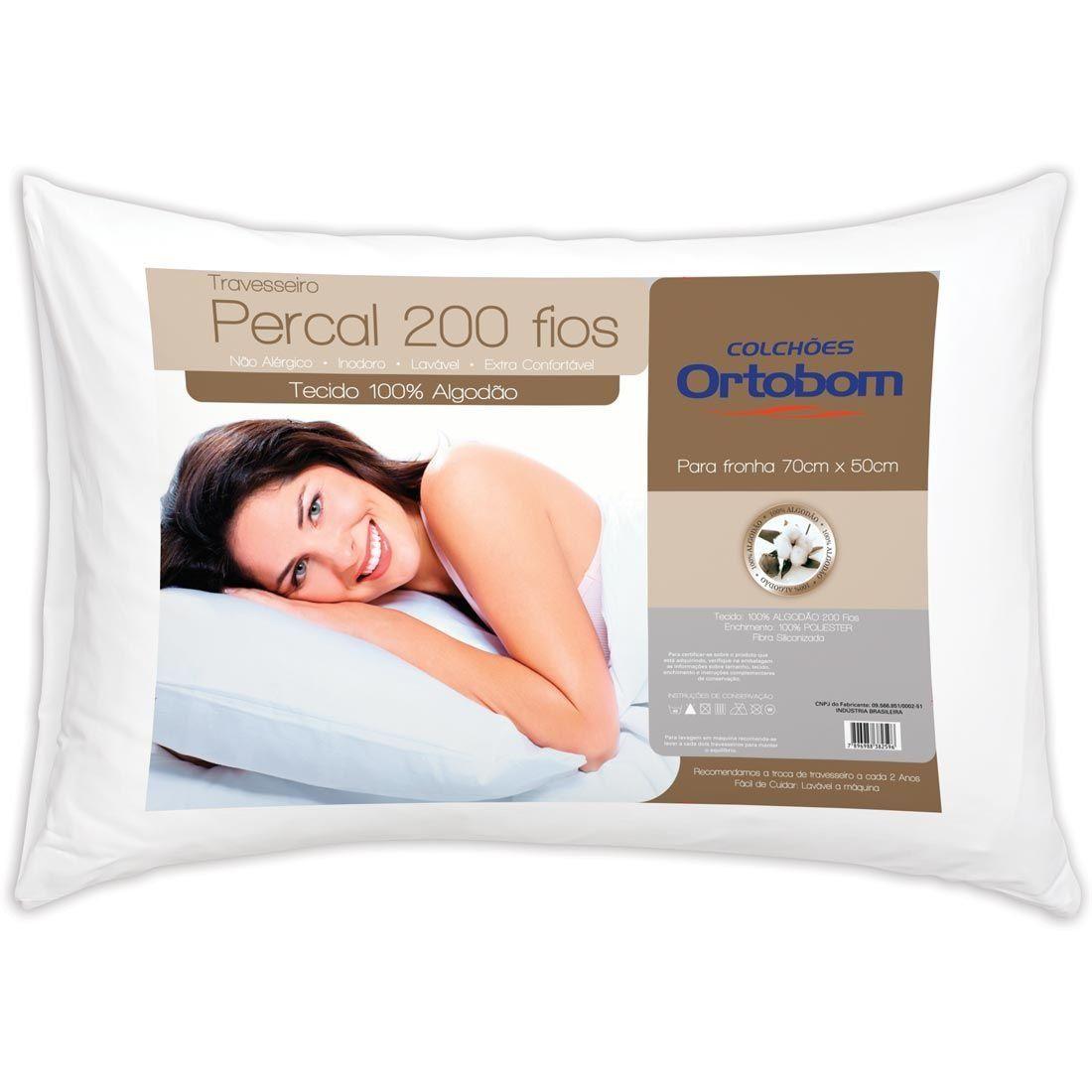 Travesseiro Percal com 200 Fios - Ortobom