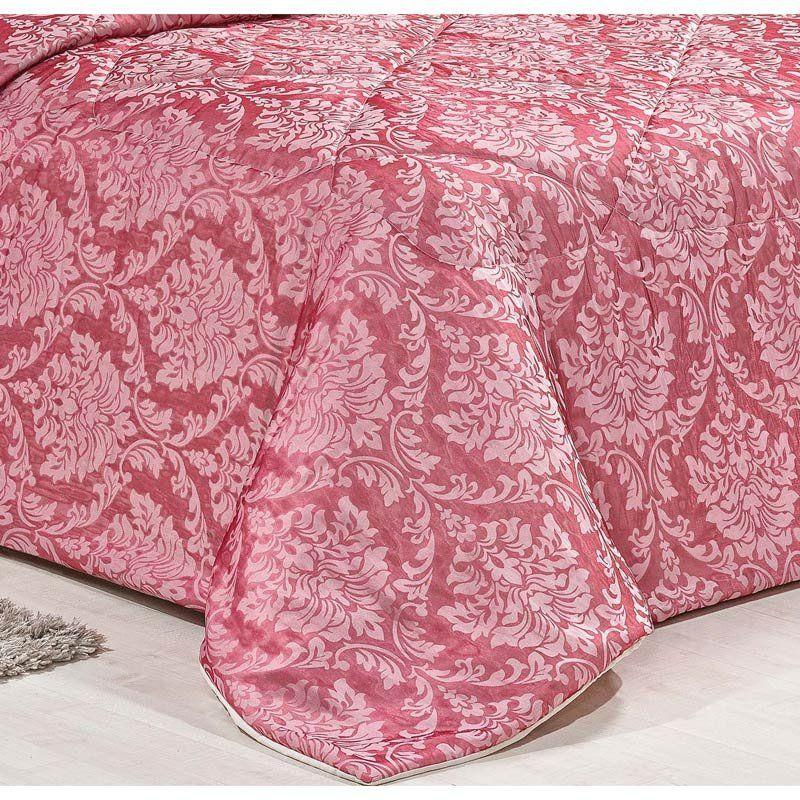 Cobre Leito Casal Queen Estampado Truzzi 03 Peças Tecido Organza - Vermelho