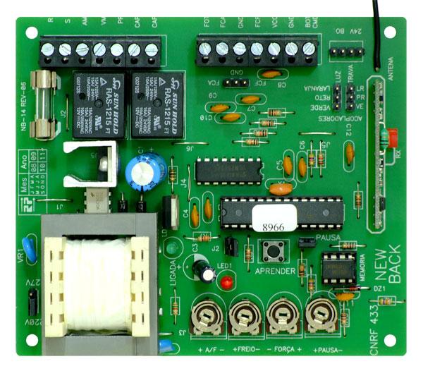 Central Placa de Comando Universal com Receptor e Freio 433 Newback