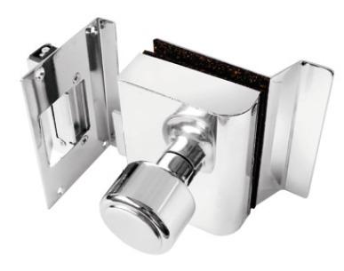 Fechadura AGL porta de vidro c/ rasgo,1 folha, abert. interna e batente em alvenaria. - PVR1I