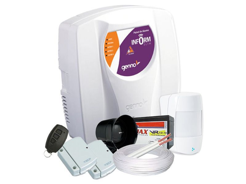 Kit de Alarme 3 Sensores Genno Residencial  e Comercial Sem Fio