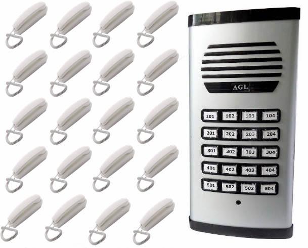 KIT Porteiro Eletrônico Coletivo 20 Pontos c/ 20 Interfones