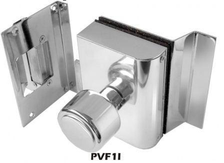 Fechadura AGL Porta de Vidro Com Furos, 1 Folha, Abertura Interna e Batente em Alvenaria - PVF1I