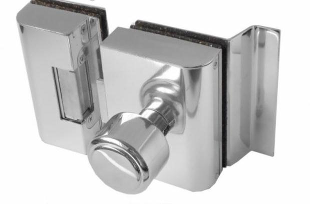 Fechadura AGL Porta de Vidro C/ Furo, 2 Folhas, Abertura Interna - PVF2I