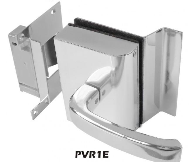 Fechadura AGL Porta de Vidro C/ Rasgo,1 Folha, Abertura Externa e Batente em Alvenaria - PVR1E