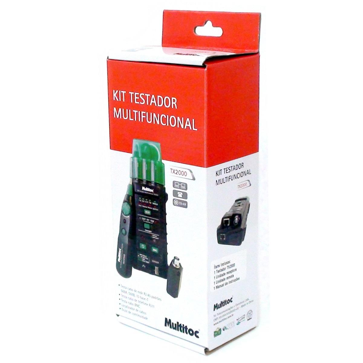 Kit Multifuncional Testador e Localizador de Cabos de Rede, Telefone e BNC TX 2000