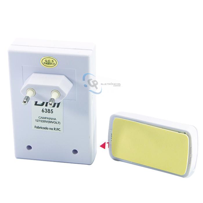 Campainha Eletrônica de Tomada Bivolt Com Led DNI 6385