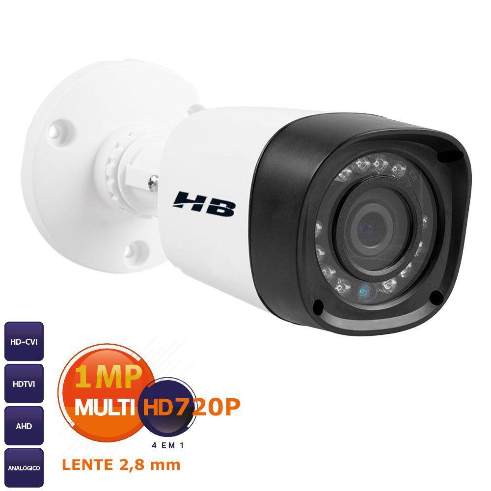 Câmera Bullet Infra Híbrida HB Tech HB-401 HD 720p - Multi HD - HDCVI, HDTVI, AHD, ANALÓGICO